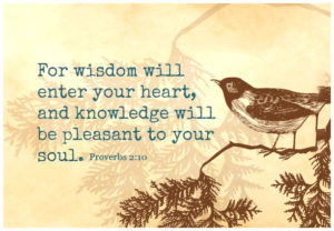 For Wisdom will enter your heart, and knowledge will be pleasant to your soul. Proverbs 2:10